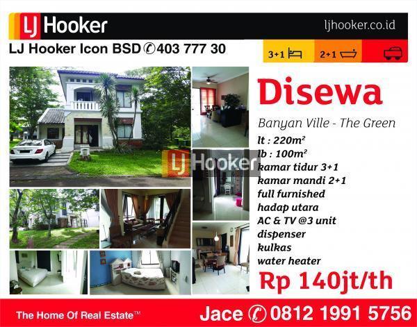 Rumah Disewakan Banyan Ville, The Green, BSD