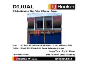 Dijual 2 Ruko Gandeng @Tapos Depok